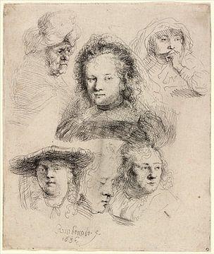 Rembrandt van Rijn, Trois études de têtes de Saskia sur