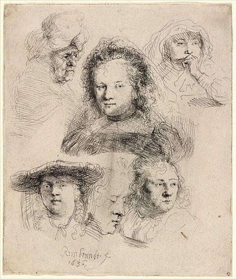Rembrandt van Rijn,  Studies van het Hoofd van Saskia en anderen