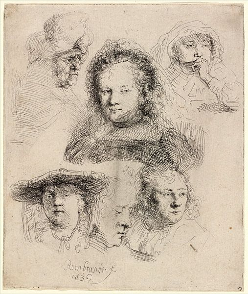 Rembrandt van Rijn,  Studies van het Hoofd van Saskia en anderen van Rembrandt van Rijn
