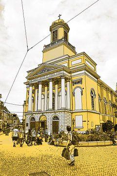 Goldene Zeichnung Leiden Hartebrugkerk Niederlande von Hendrik-Jan Kornelis