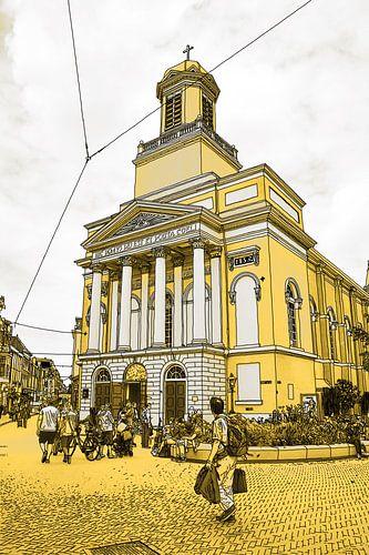 Pentekening Leiden Hartebrugkerk Gouden Tekening Lijntekening