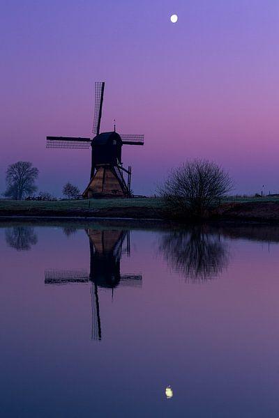 Mühle bei Mondschein von Paul Begijn