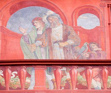 Fresco op Raadhuis van Bazel in Zwitserland van Joost Adriaanse