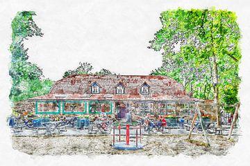 """Partycentrum """"'t Appeltje"""" in Bergen op Zoom (aquarel) van Art by Jeronimo"""