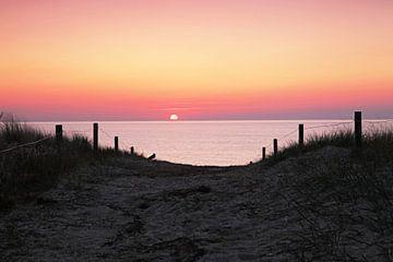 Duinovergang in de zonsondergang