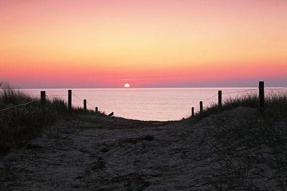 Dünenübergang in den Sonnenuntergang