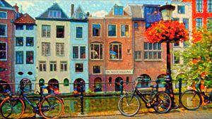 Kleurrijk Schilderij Grachtenpanden Utrecht