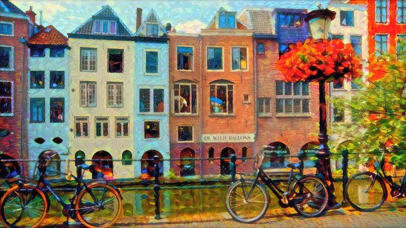 Kleurrijk Schilderij Grachtenpanden Utrecht van Slimme Kunst.nl