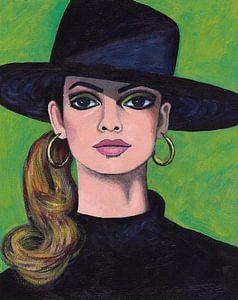 Mädchen mit schwarzem Hut von Lucienne van Leijen