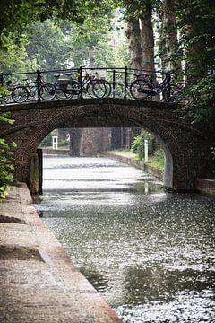 De Magdalenabrug over de Nieuwegracht in Utrecht in de regen