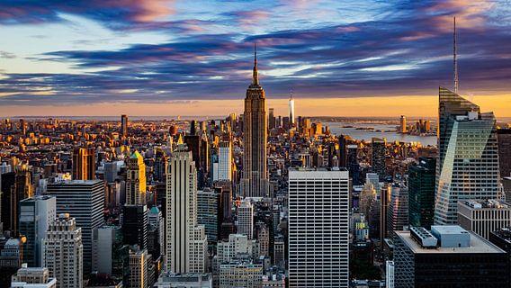 Zonsondergang over Manhattan, New York City