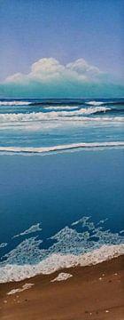 Schuim op strand van Ronald Boon