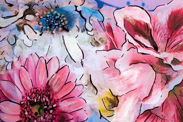 Mixed media met verschillende bloemen. van Therese Brals