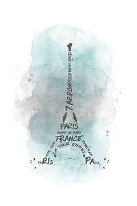 Eiffeltoren typografie | aquarel turquoise