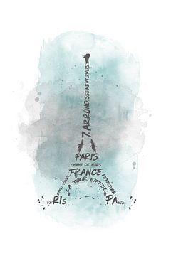 Eiffeltoren typografie | aquarel turquoise van Melanie Viola