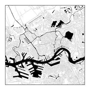 Rotterdam Plattegrond - Vierkant in Zwart/Wit - witte kader
