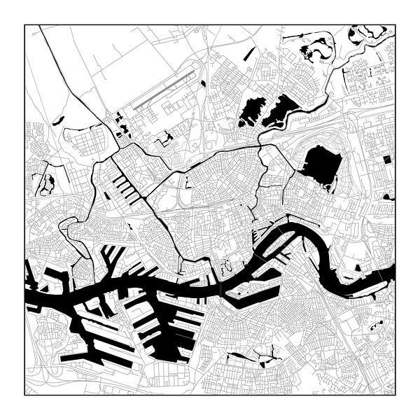 Rotterdam Plattegrond - Vierkant in Zwart/Wit