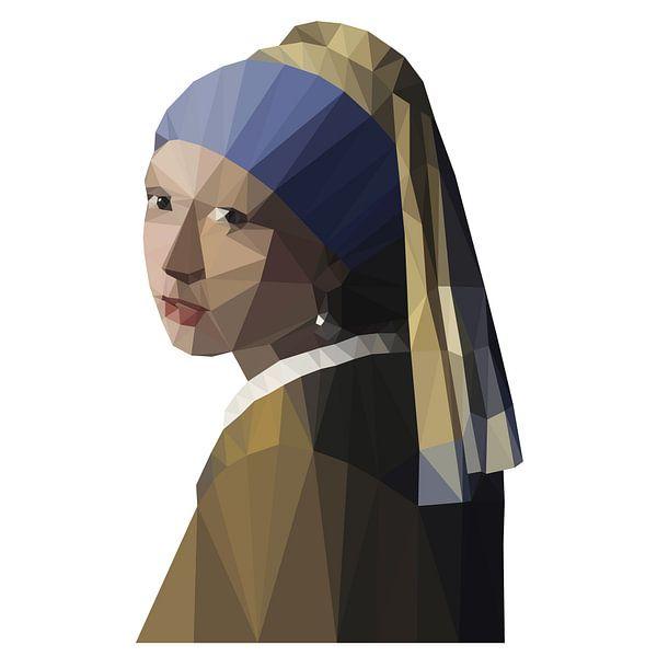 Meisje met de parel Johannes Vermeer Low Poly portret van Marianne Jonkman