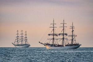Segelschiffe auf der Hanse Sail in Rostock.