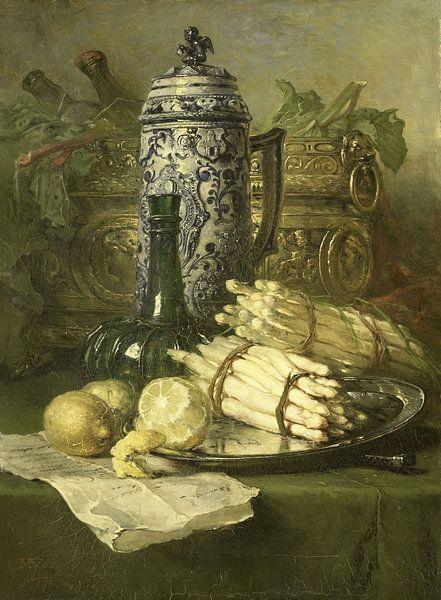 Stilleben mit Krug aus Steingut, Maria Vos von Meesterlijcke Meesters
