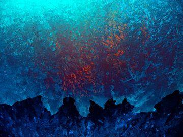 Abstract onderwater landschap in blauw van Ina Hölzel