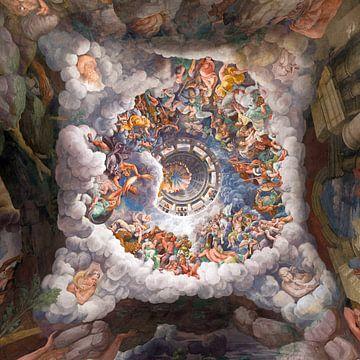 Giulio Romano, Kamer der Giganten - Plafond, 1532 van Atelier Liesjes