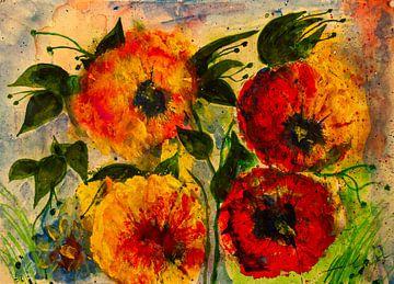 Rood bloemenkwartet van Klaus Heidecker