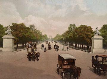 Avenue des Champs Elysées, Paris sur Vintage Afbeeldingen