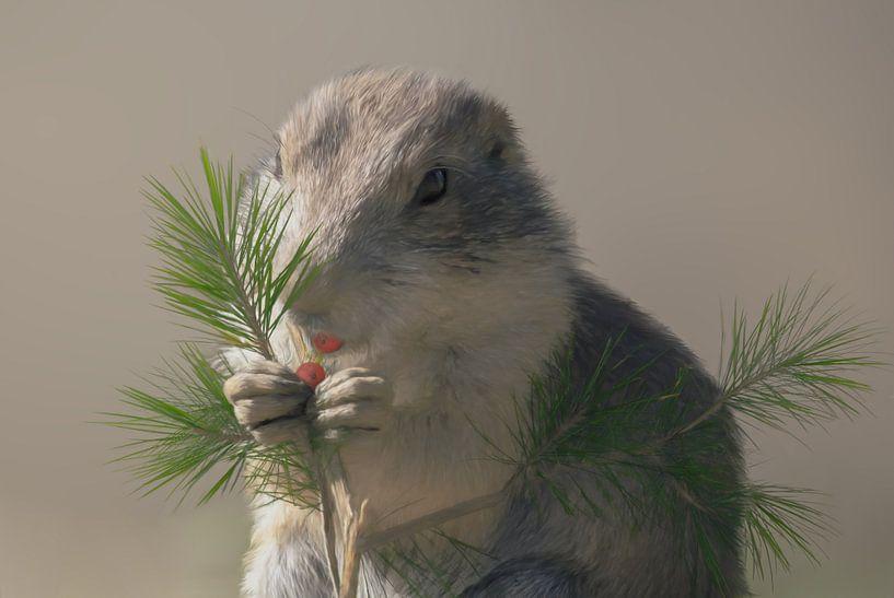 Baby eekhoorn die een besje eet van Karin aan de muur