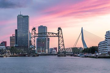 Die Hef- und Erasmusbrücke bei Sonnenuntergang von Arisca van 't Hof