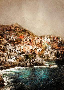 Cinque Terre Italië landschap schilderij #italy van JBJart Justyna Jaszke