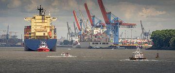 Boten op de Elbe in Hamburg van Jonas Weinitschke