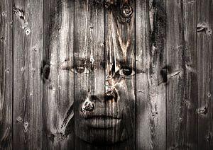 Mixed art portret van Afrikaans kind in zwart wit