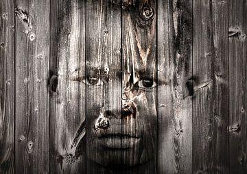 Mixed art portret van Afrikaans kind in zwart wit van Heleen van de Ven
