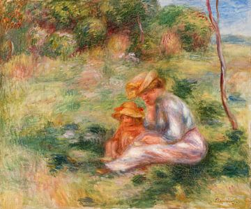 Frau mit Kind im Gras, Renoir (1898)