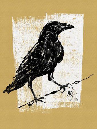 Tekening zwarte kraai 2 van Lida Bruinen