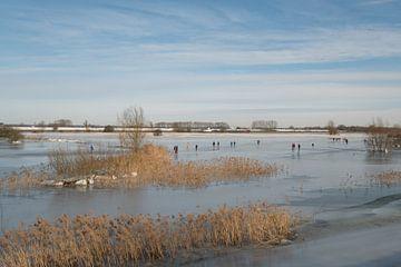 Patinage dans les plaines inondables sur Moetwil en van Dijk - Fotografie