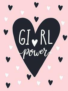 Girl Power, zwart, wit en roze, voor de meidenkamer van