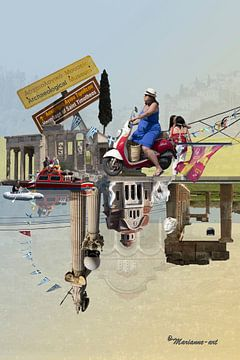 Collage Griekenland Vakantie Akropolis Peloponnesos van Marianne van der Zee