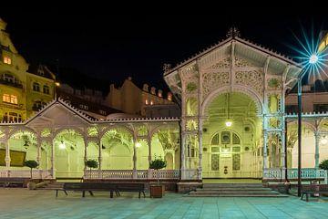 Karlovy vary, de markt colonnade en de Onderste kasteel lente van Melanie Viola