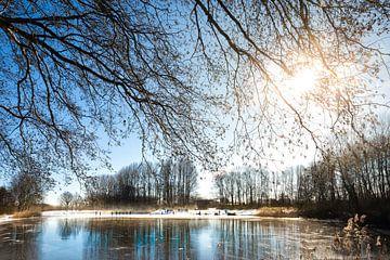 Winter in Nederland , ijspret op het ijs, schaatsen in de winter