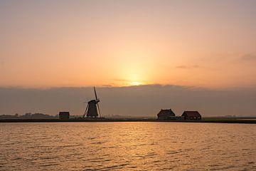 Mill Der Sonnenuntergang von Nord-Texel von Texel360Fotografie Richard Heerschap