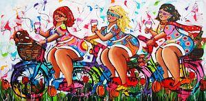 Dames op de fiets van
