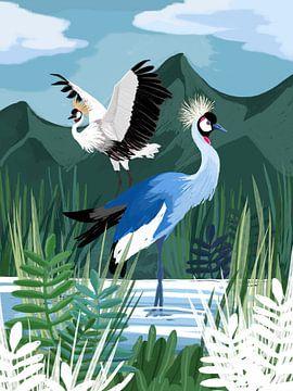 Kraanvogels in het water van Goed Blauw