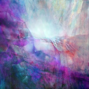Drifting - abstracte compositie in roze en turkoois van Annette Schmucker