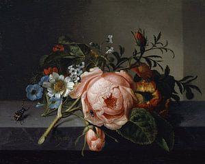 Stillleben mit Rosenzweig, Käfer und Biene (1741), Rachel Ruysch