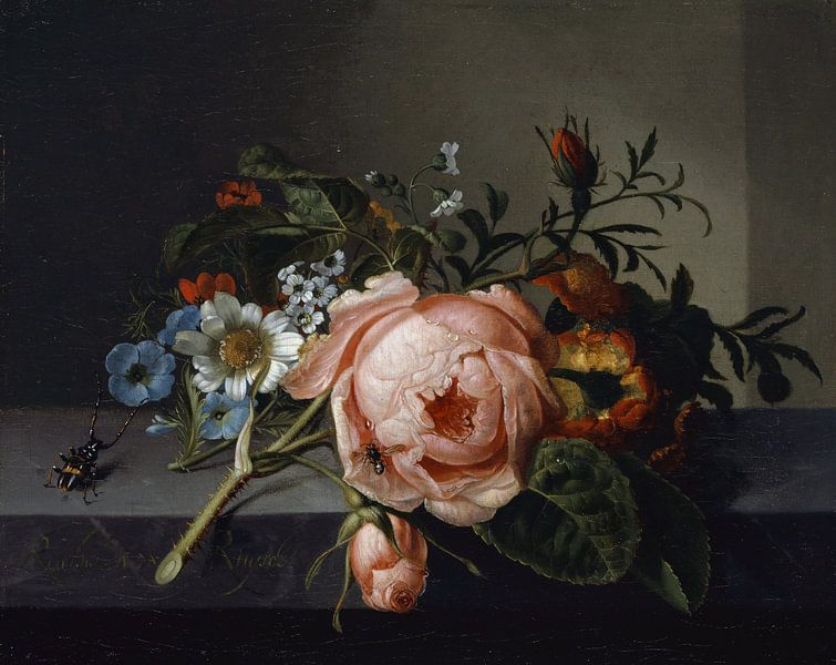 Stillleben mit Rosenzweig, Käfer und Biene (1741), Rachel Ruysch von Meesterlijcke Meesters