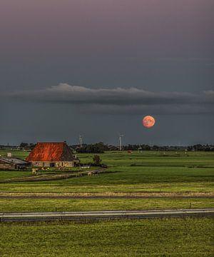 Der Mond vom 31. August 2020 über Friesland von Harrie Muis