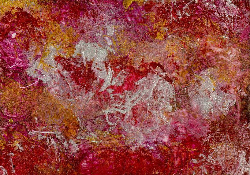 Encaustic Art rood bruin oker wit geel van Erica de Winter