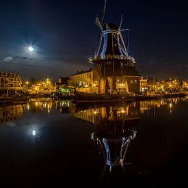 Nachtzicht op Haarlem van Robert Riewald